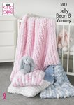 King Cole 5512 Knitting Pattern Cot Blanket, Pram Blanket and Cushion in Jellybean and Yummy