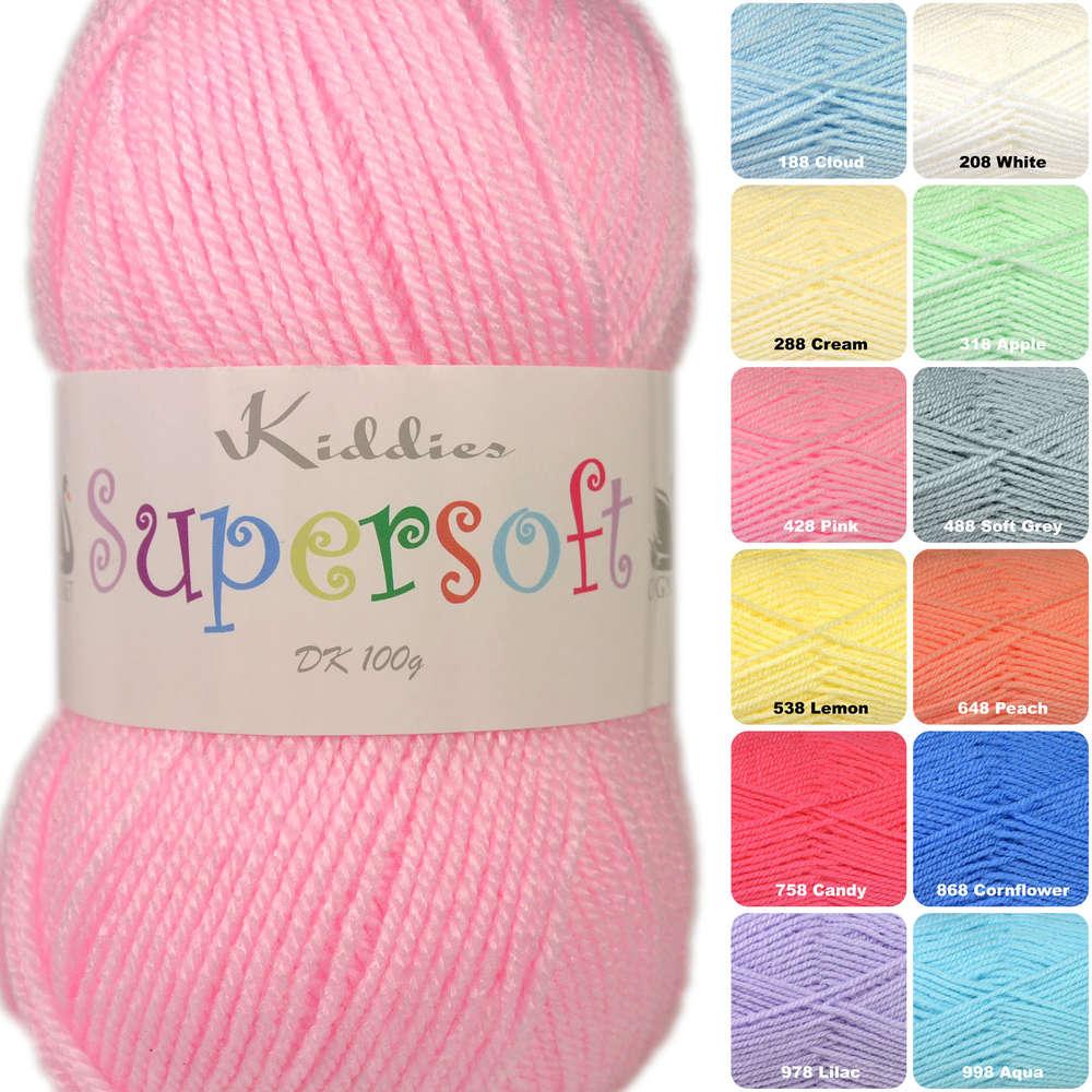 Wool 100g Cygnet Kiddies Supersoft DK Double Knitting Acrylic Yarn 208 WHITE