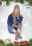 King Cole 5545 Knitting Pattern Hat Scarf Fingerless Gloves and Socks in Zig Zag 4 Ply