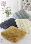 King Cole 5535 Knitting Pattern Cushions in King Cole Big Value Big