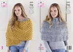 King Cole 5532 Knitting Pattern Womens Poncho and Wrap in King Cole Big Value Big