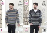 King Cole 5462 Knitting Pattern Mens Easy Knit Raglan Sweaters in Explorer Super Chunky