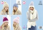 King Cole 5530 Knitting Pattern Womens Hats and Scarf in King Cole Timeless Super Chunky