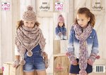King Cole 5552 Knitting Pattern Girls Hat Scarf Accessories in King Cole Big Value Chunky