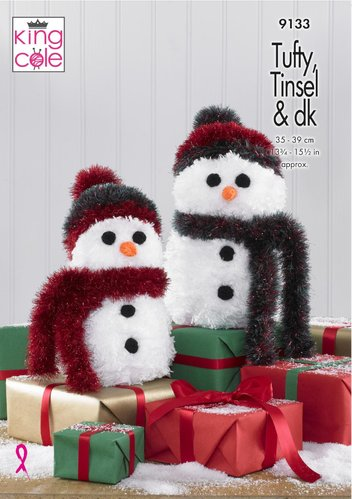 King Cole 9133 Knitting Pattern Christmas Snowman Decorations in Tufty Tinsel Chunky and Dollymix DK