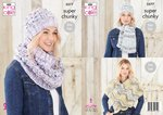 King Cole 5577 Knitting Pattern Womens Hat Scarf Cowl Wrap in King Cole Big Value Super Chunky Tints