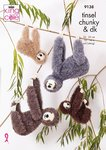King Cole 9138 Knitting Pattern Toy Sloths in King Cole Tinsel Chunky and Big Value Baby DK