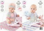 King Cole 5588 Knitting Pattern Baby Blanket Raglan Coat Cardigan and Hat in Beaches DK