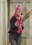 James C Brett JB586 Knitting Pattern Womens Scarf Hat and Wrist Warmers in Marble Chunky