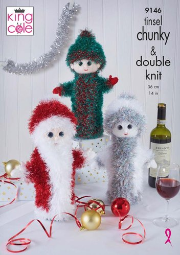 King Cole 9146 Knitting Pattern Christmas Wine Bottle Covers in King Cole Tinsel Chunky