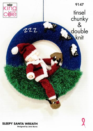 King Cole 9147 Knitting Pattern Christmas Sleepy Santa Wreath in Tinsel Chunky and Glitz DK